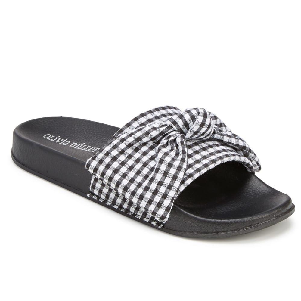 OLIVIA MILLER Women's Gingham Bow Slide Sandals 6