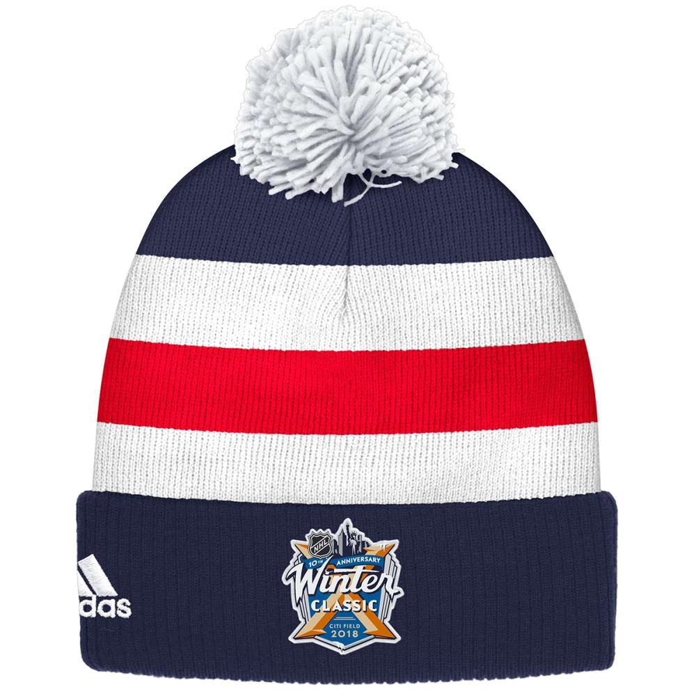 ADIDAS New York Rangers 2018 Winter Classic Cuffed Pom Knit Beanie - ROYAL BLUE