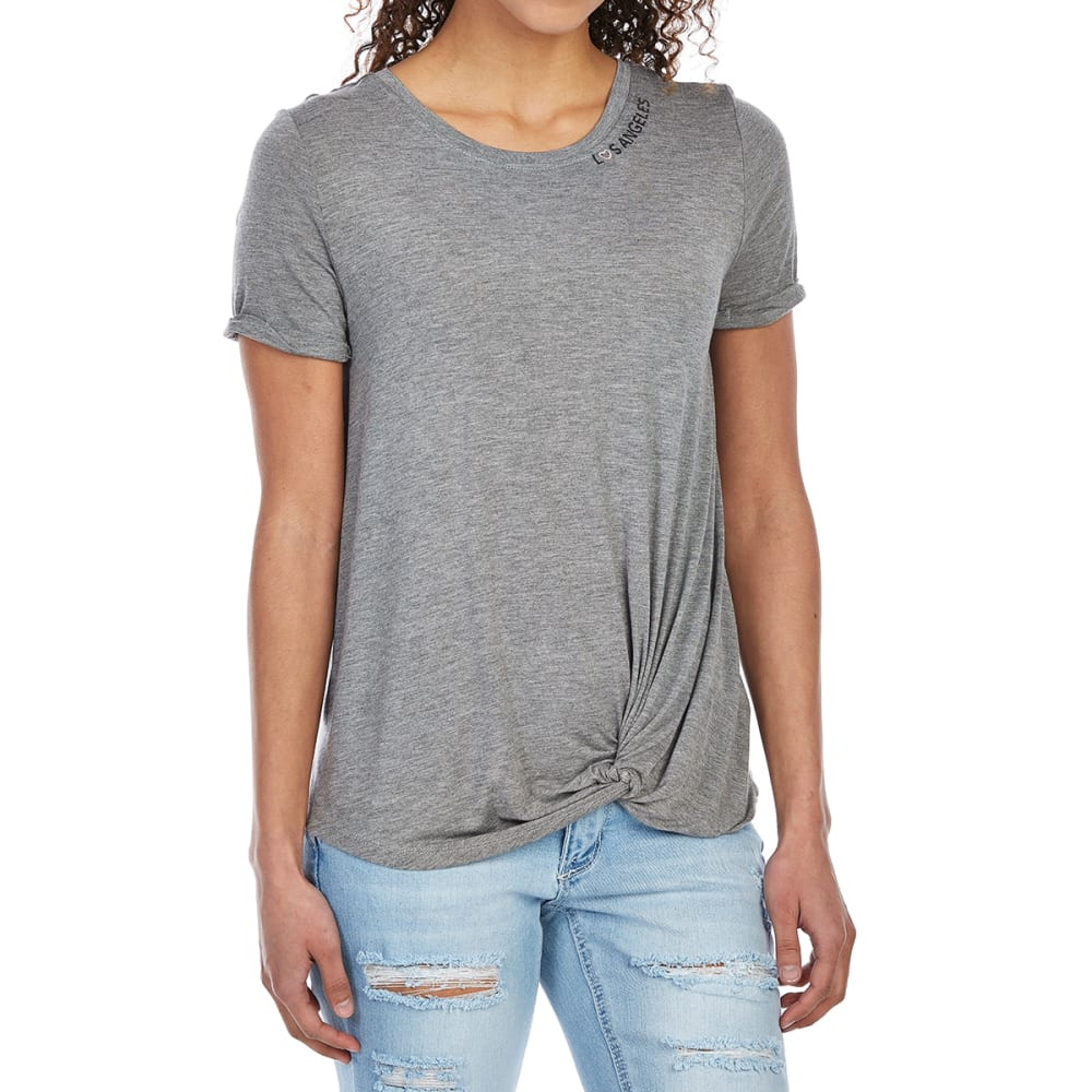 TAYLOR & SAGE Juniors' Tie-Front LA Short-Sleeve Tee - HGRY-HEATHER GREY