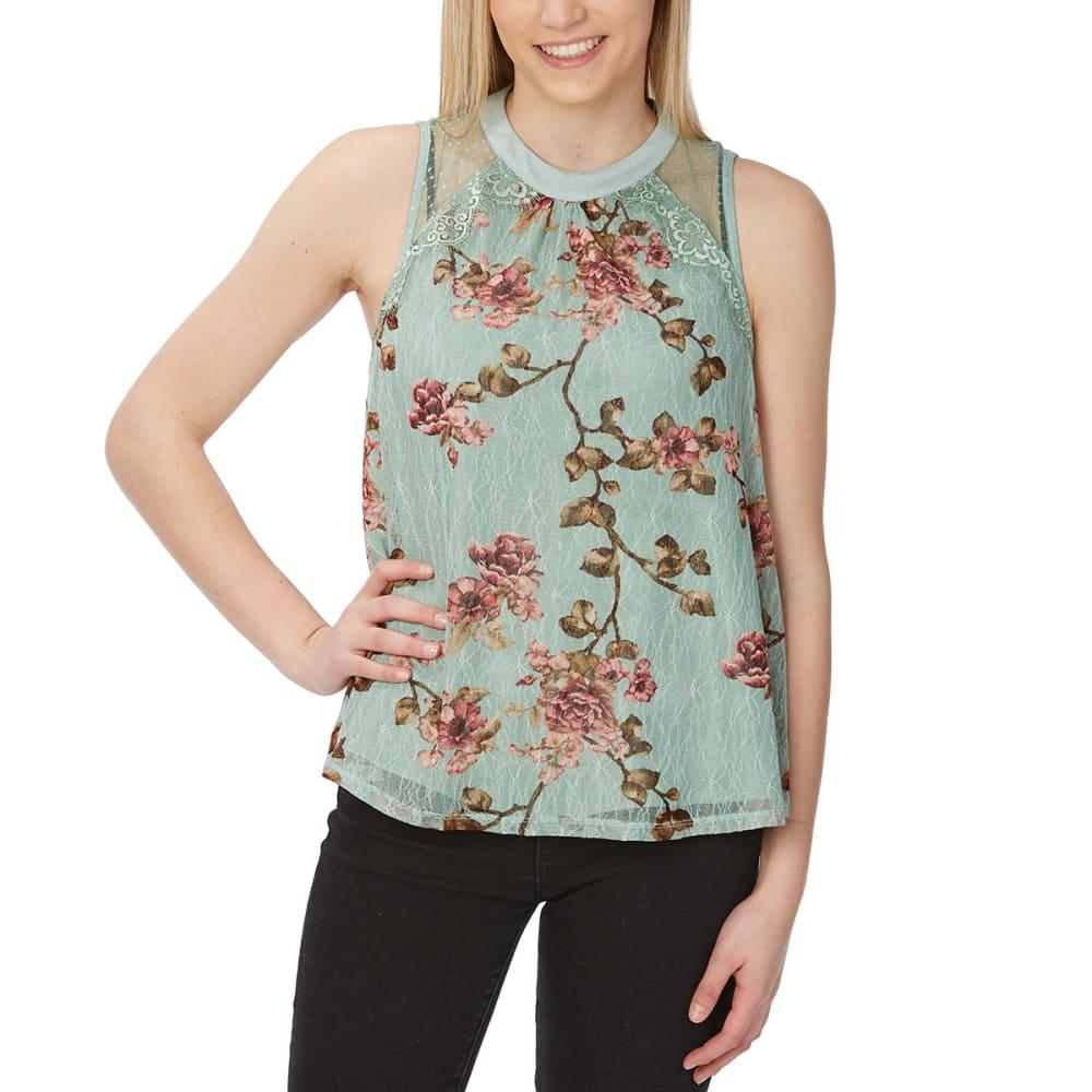TAYLOR & SAGE Juniors' Floral Lace High-Neck Tank Top S