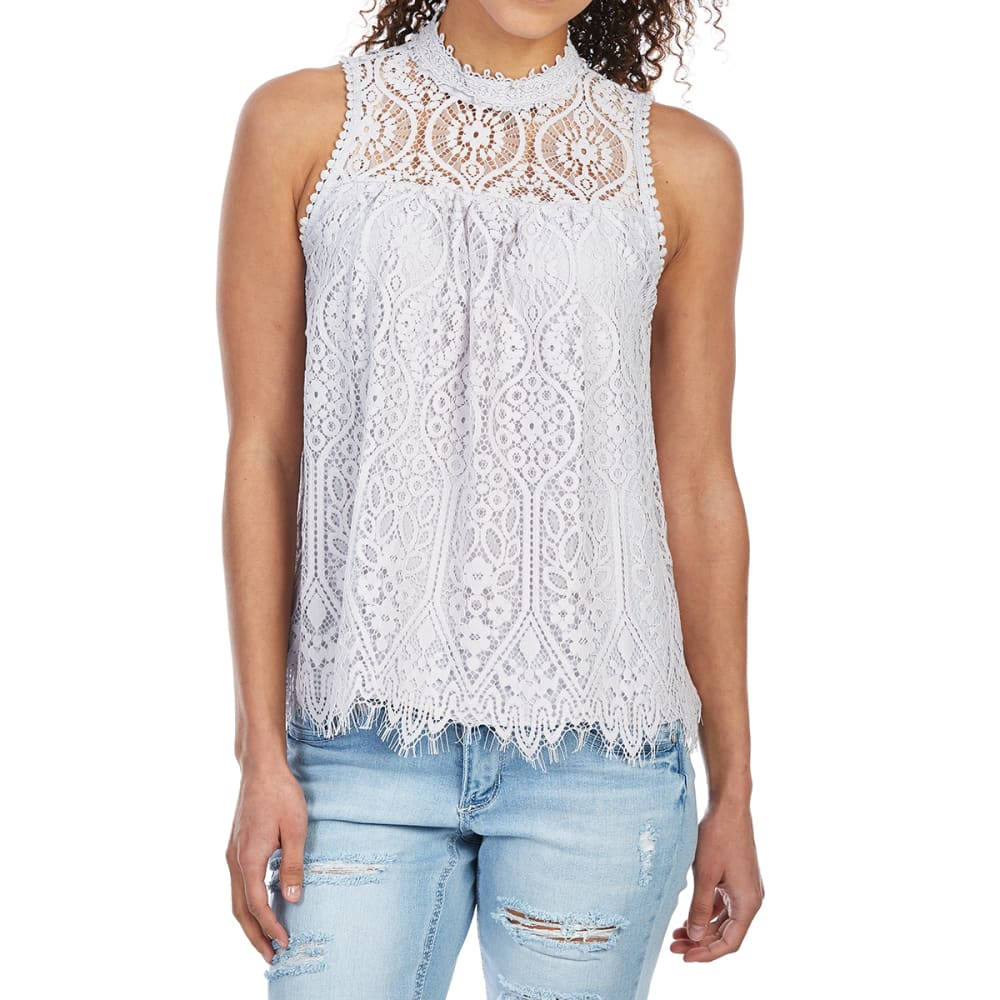 TAYLOR & SAGE Juniors' All-Over Lace High-Neck Tank Top - EIG-EILEEN GREY