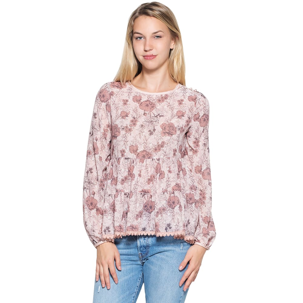 TAYLOR & SAGE Juniors' Floral Tiered Long-Sleeve Babydoll Top M