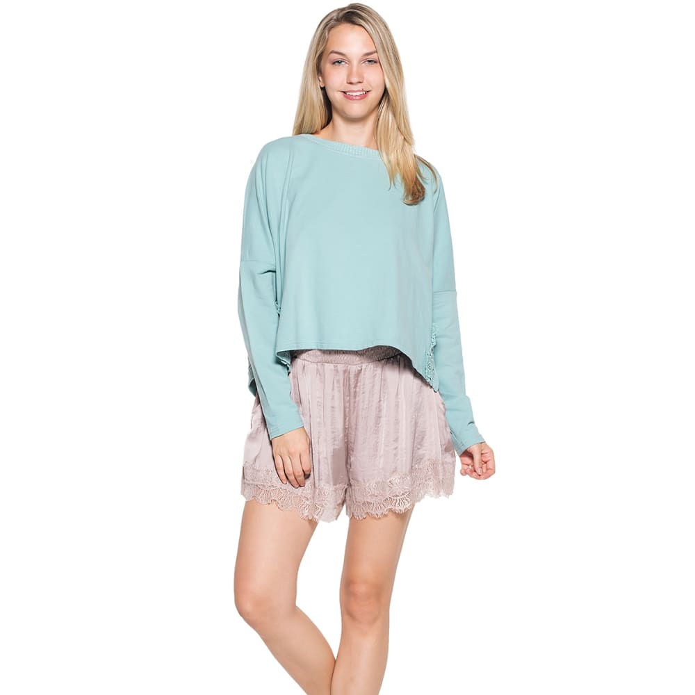 TAYLOR & SAGE Juniors' Crochet French Terry Long-Sleeve Top - DFM-DUSTY SEAFOAM