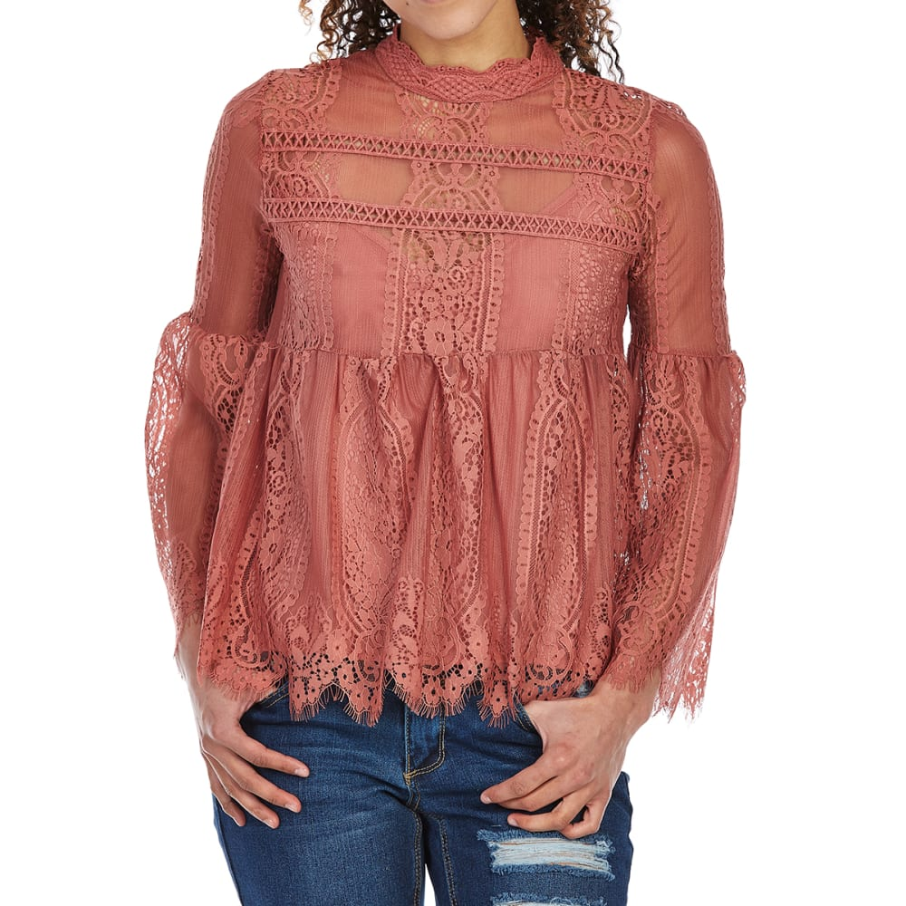 TAYLOR & SAGE Juniors' All-Over Lace Long-Sleeve Babydoll Top L
