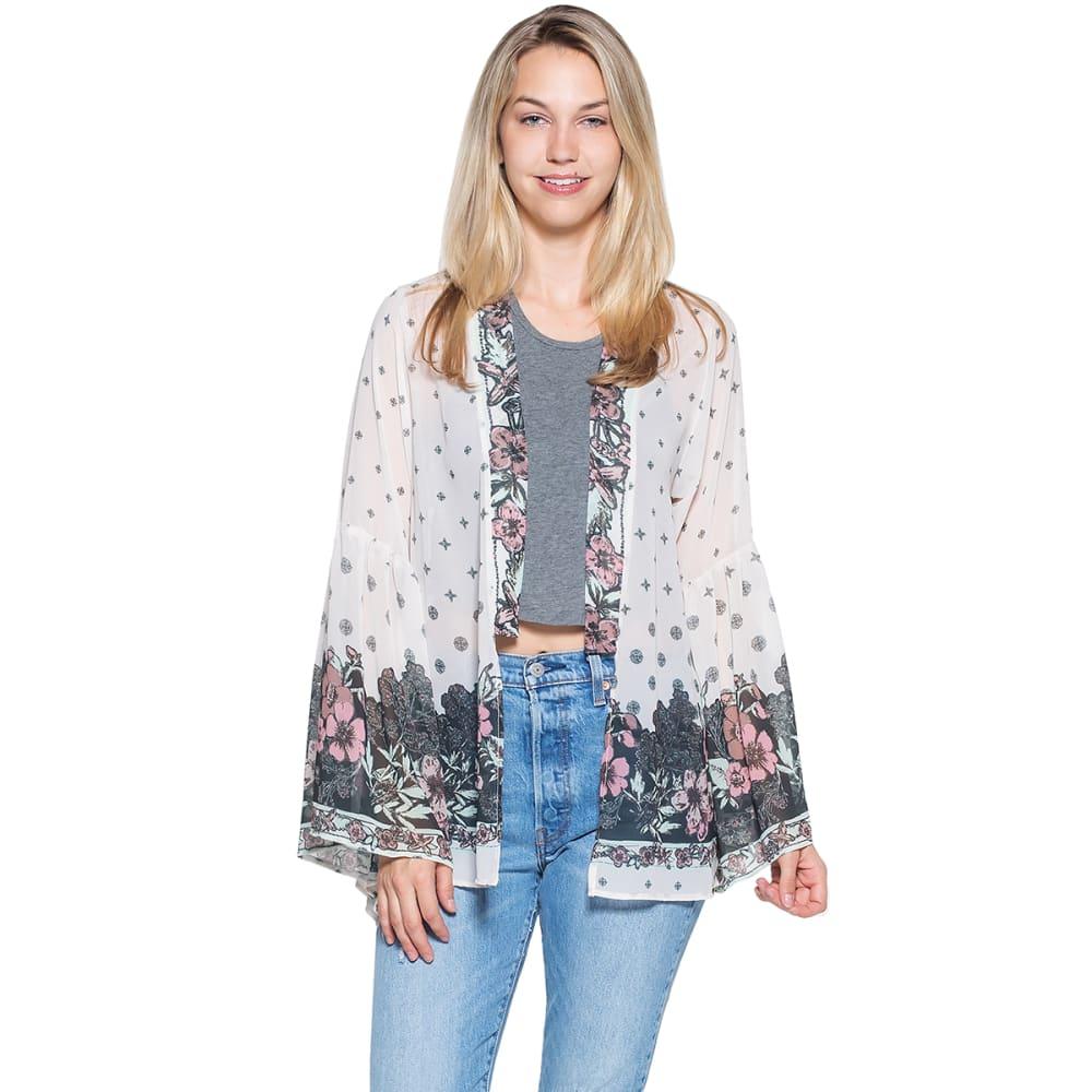 TAYLOR & SAGE Juniors' Floral Border Print Kimono Top - SCH-SWEET CHAMPAGNE
