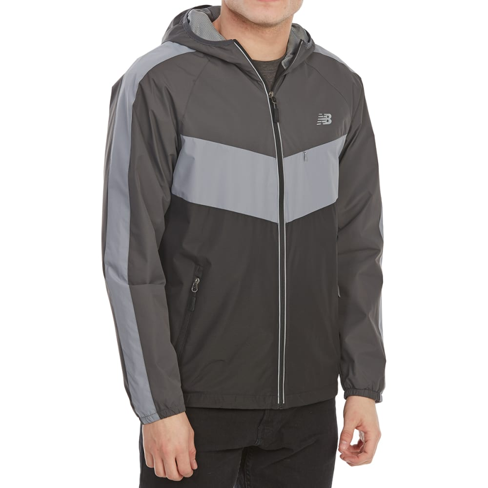 NEW BALANCE Men's Poly Dobby Color-Block Jacket - BLACK-BK345