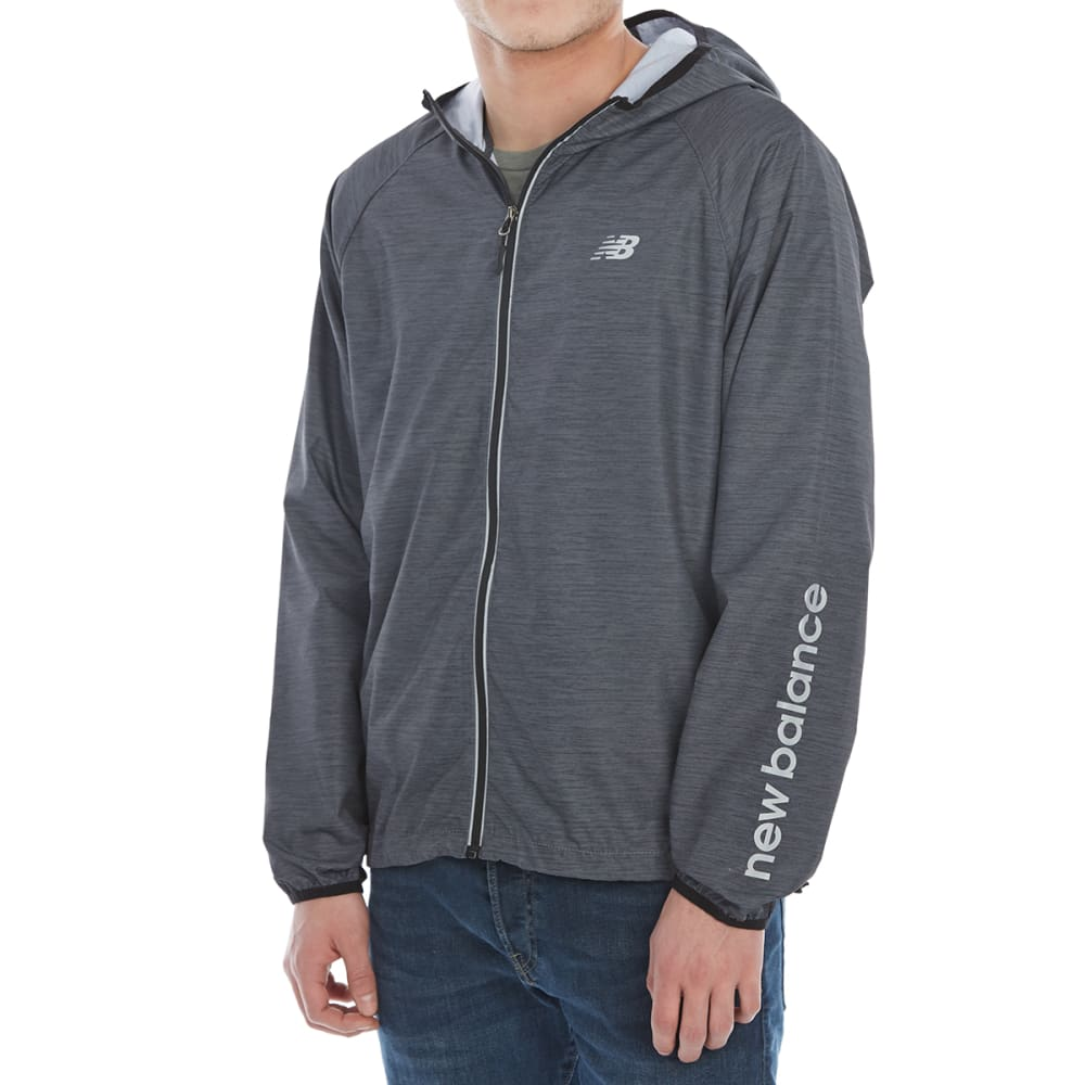New Balance Men's Poly Cire Color-Block Packable Hoodie - Black, S