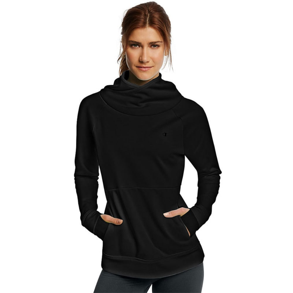 Champion Women's Tech Fleece Duofold Funnel-Neck Pullover - Black, S