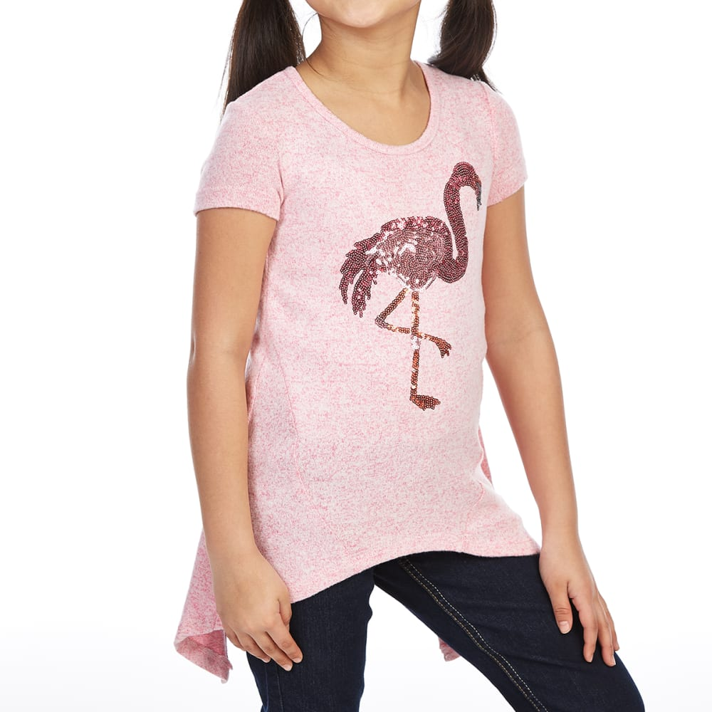 DJ & JUJU Big Girls' Flamingo Sequin Chiffon Back Short-Sleeve Tee - BUBBALICIOUS/WHT