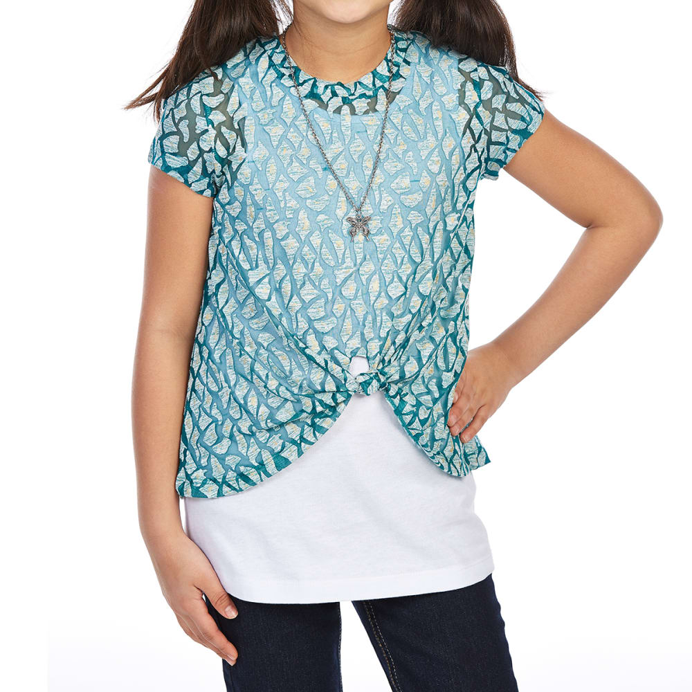 DJ & JUJU Big Girls' Tie-Front Short-Sleeve Tee with Necklace - TEAL