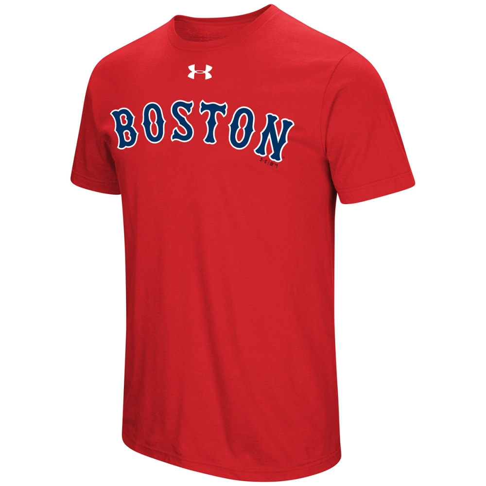 UNDER ARMOUR Men's Boston Red Sox Passion Road Team Font Short-Sleeve Tee - RED