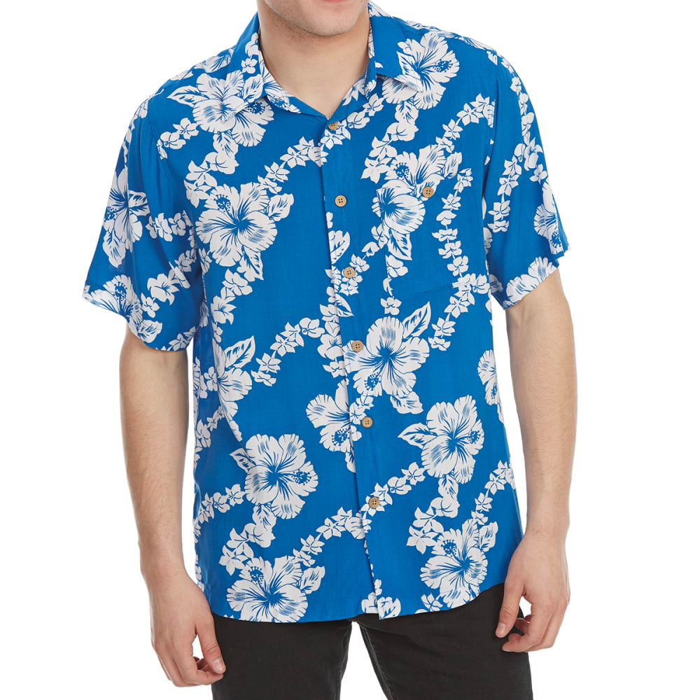 NO FEAR Men's Printed Rayon Short-Sleeve Shirt - HIBISCUS/ROYAL