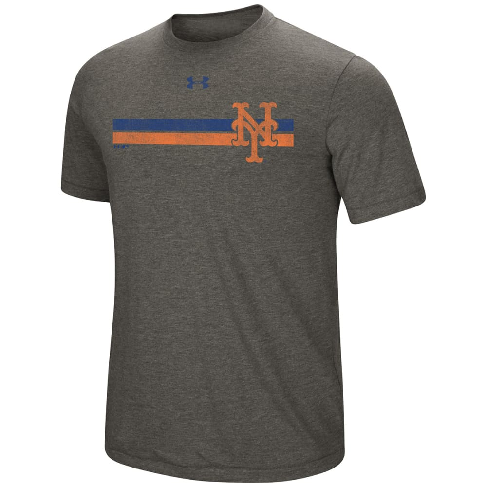 UNDER ARMOUR Men's New York Mets Tri-Blend Stripe Logo Short-Sleeve Tee - GREY