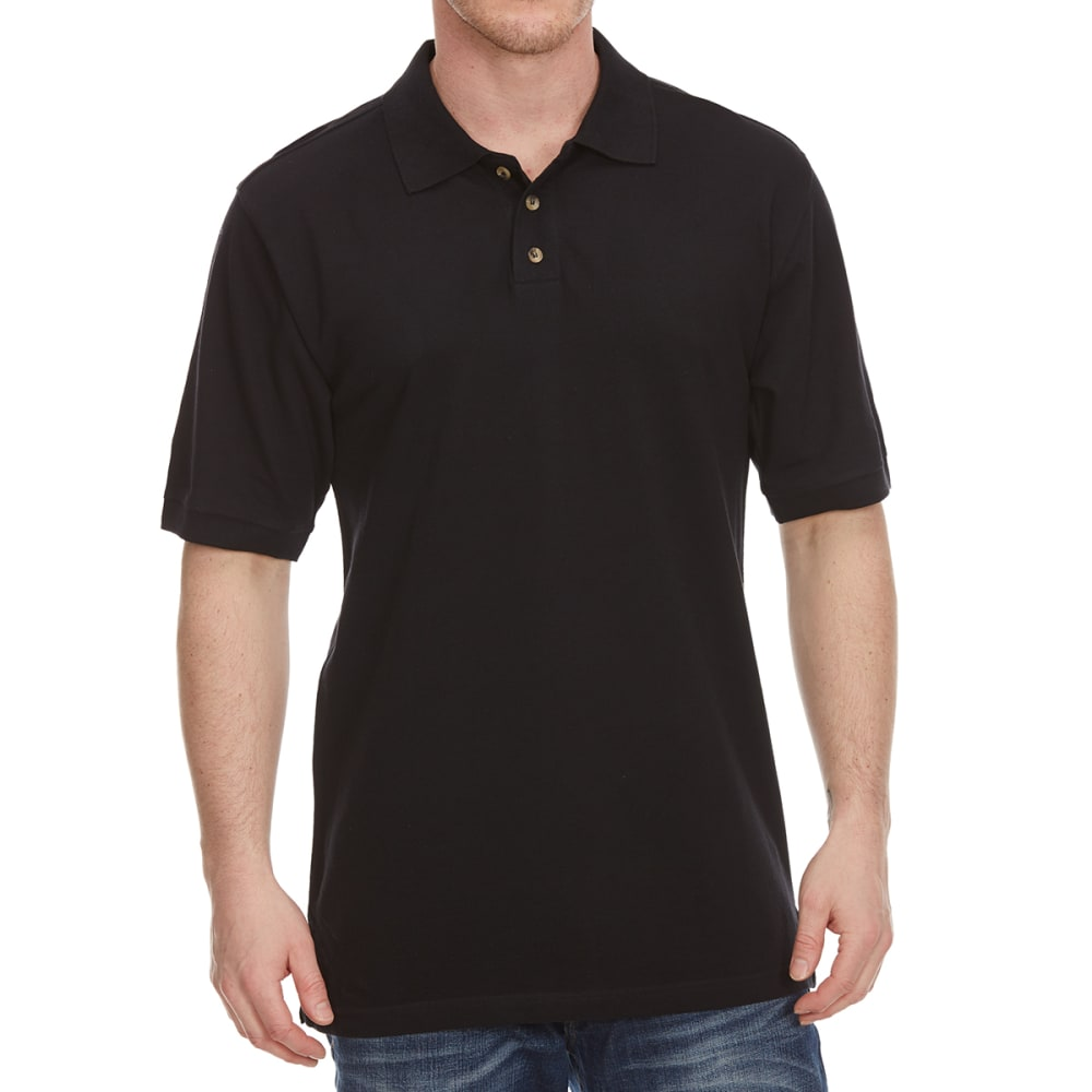 BCC Men's Pique Short-Sleeve Polo Shirt - BLACK