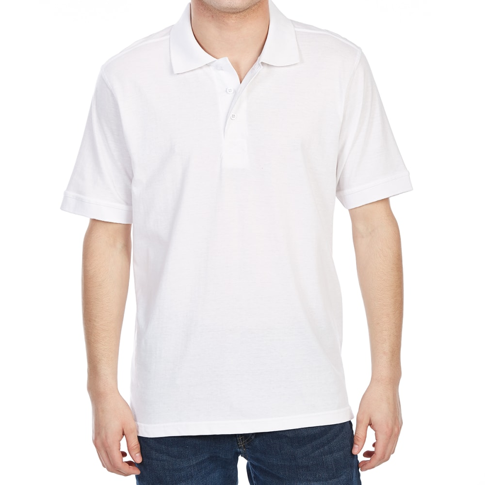 RUGGED TRAILS Men's Jersey Short-Sleeve Polo Shirt - WHITE
