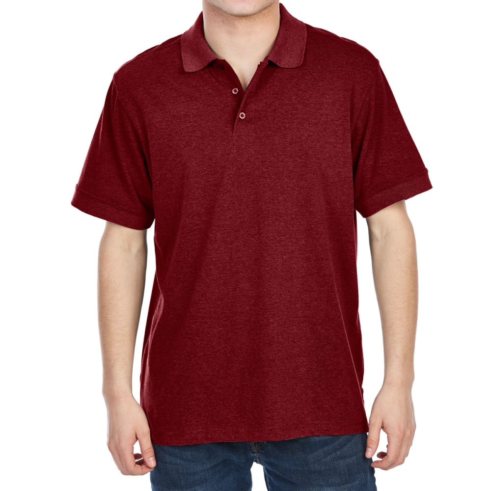 RUGGED TRAILS Men's Jersey Short-Sleeve Polo Shirt - TAWNY PORT HEATHER