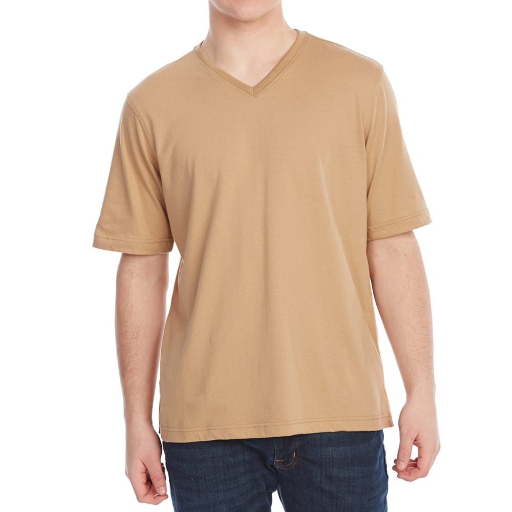 RUGGED TRAILS Men's Jersey V-Neck Short-Sleeve Tee - WOOD CHIP