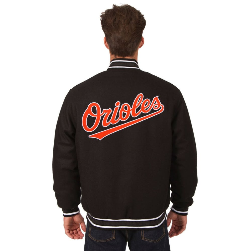 BALTIMORE ORIOLES Men's Reversible Wool Jacket - BLACK