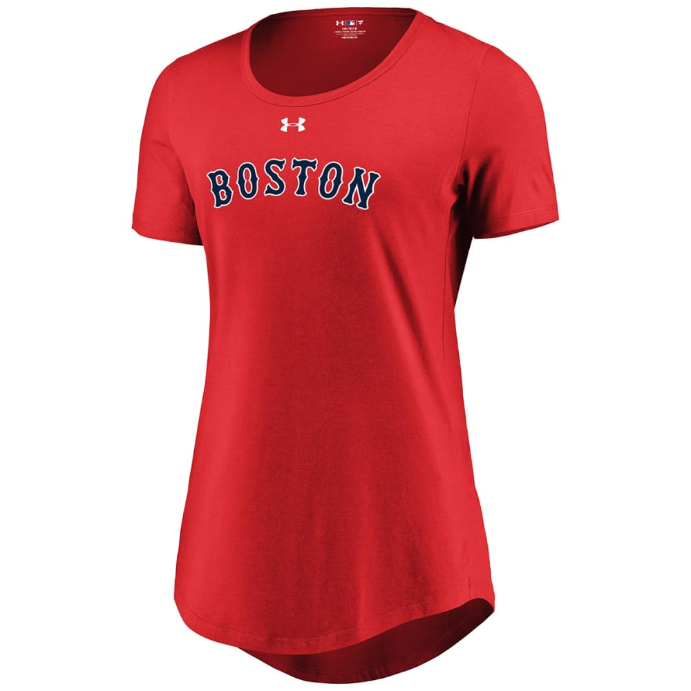 UNDER ARMOUR Women's Boston Red Sox Passion Road Team Font Scoop-Neck Short-Sleeve Tee - RED