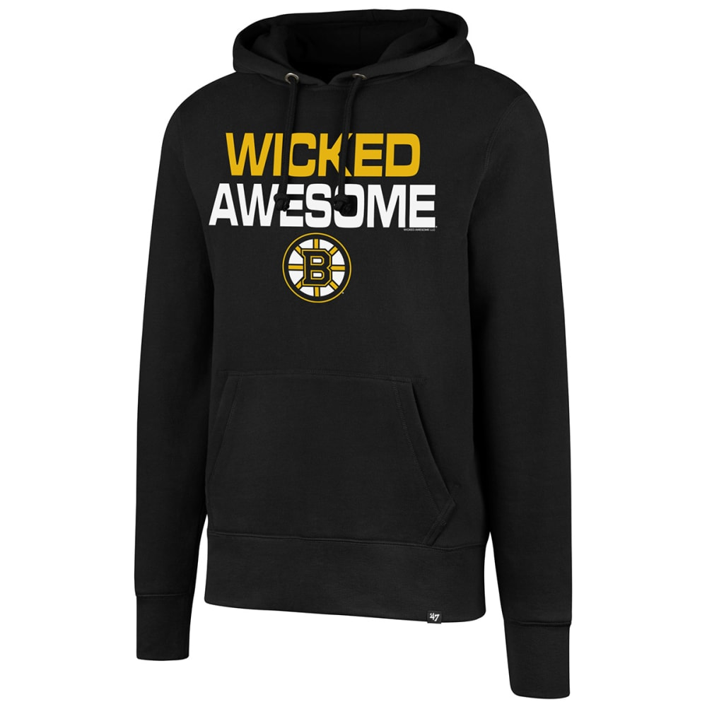 BOSTON BRUINS Men's Wicked Awesome '47 Headline Pullover Hoodie - BLACK