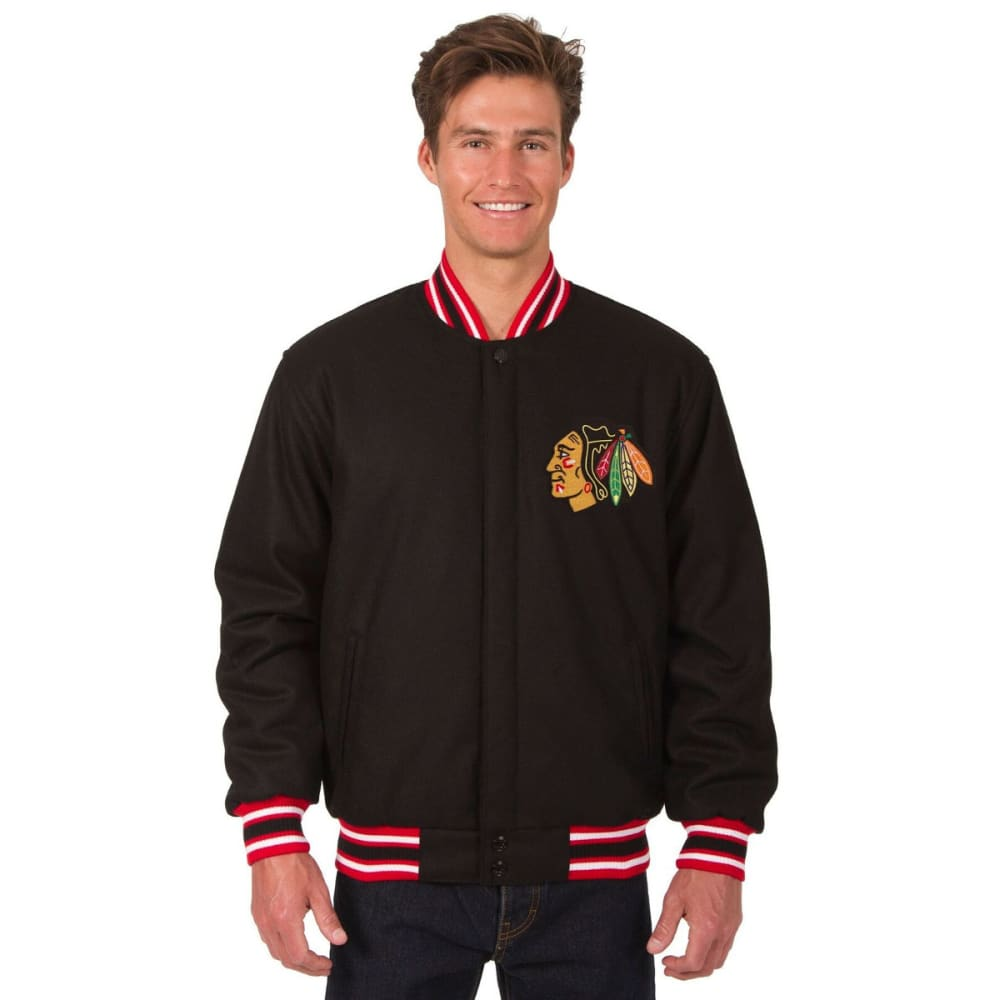 CHICAGO BLACKHAWKS Men's Reversible Wool Jacket - BLACK-RED