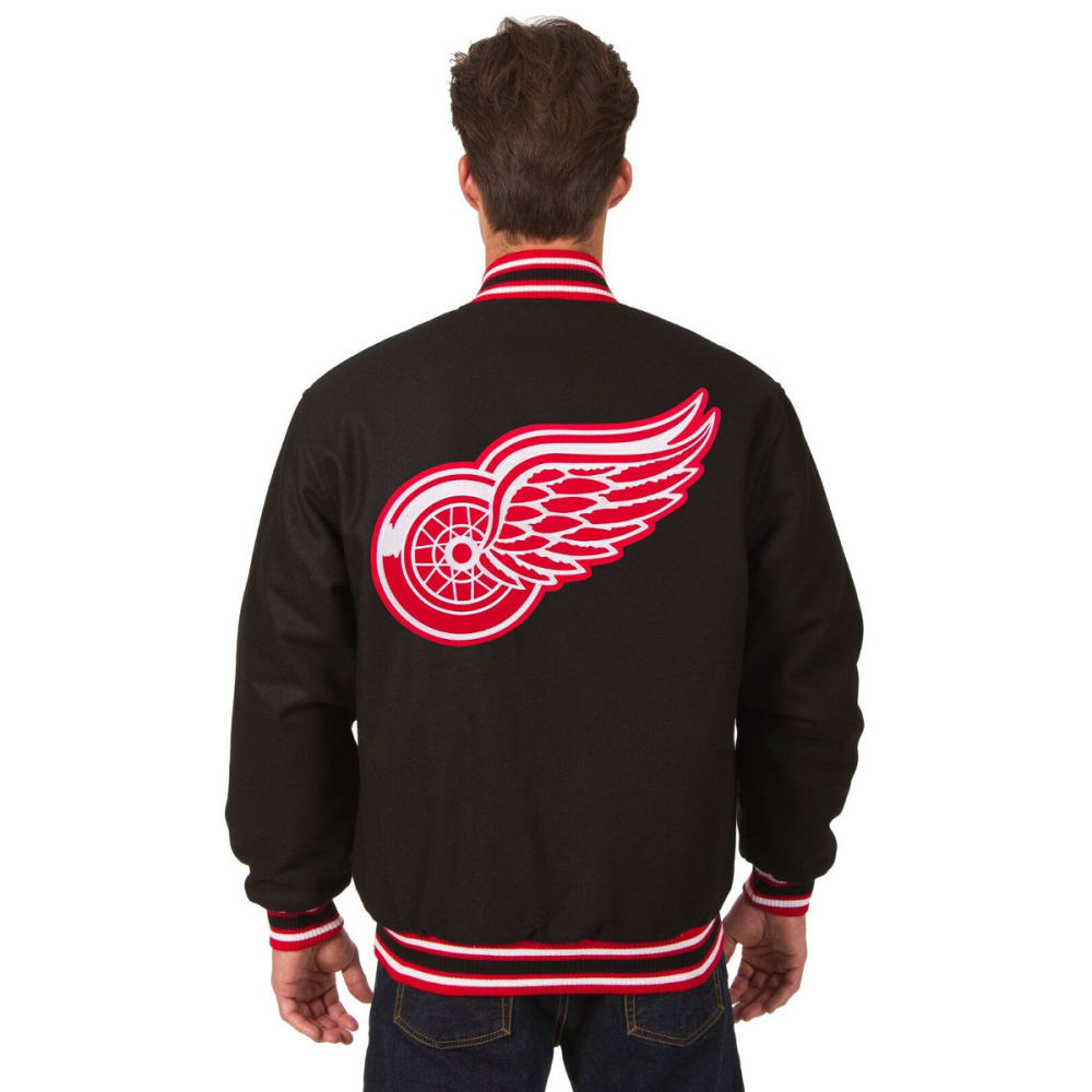 DETROIT RED WINGS Men's Reversible Wool Jacket - BLACK