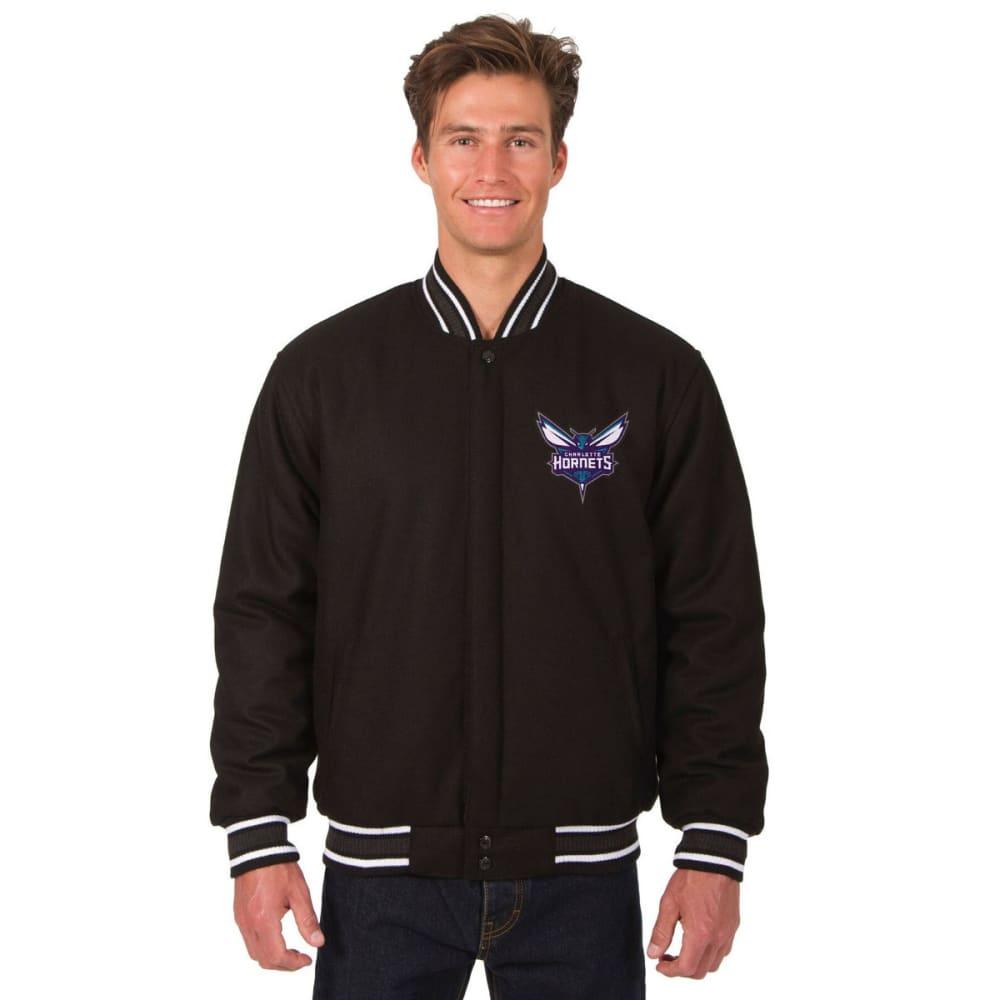CHARLOTTE HORNETS Men's One Logo Reversible Wool Jacket - BLACK