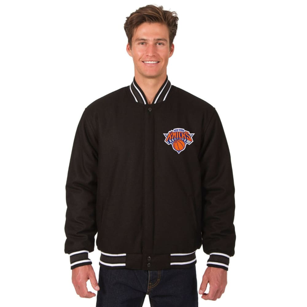 NEW YORK KNICKS Men's One Logo Reversible Wool Jacket - BLACK