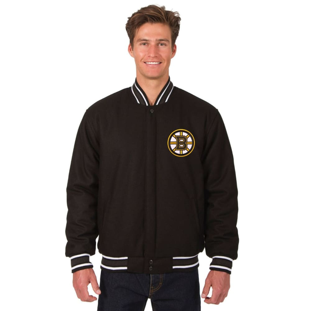BOSTON BRUINS Men's One Logo Reversible Wool Jacket - BLACK