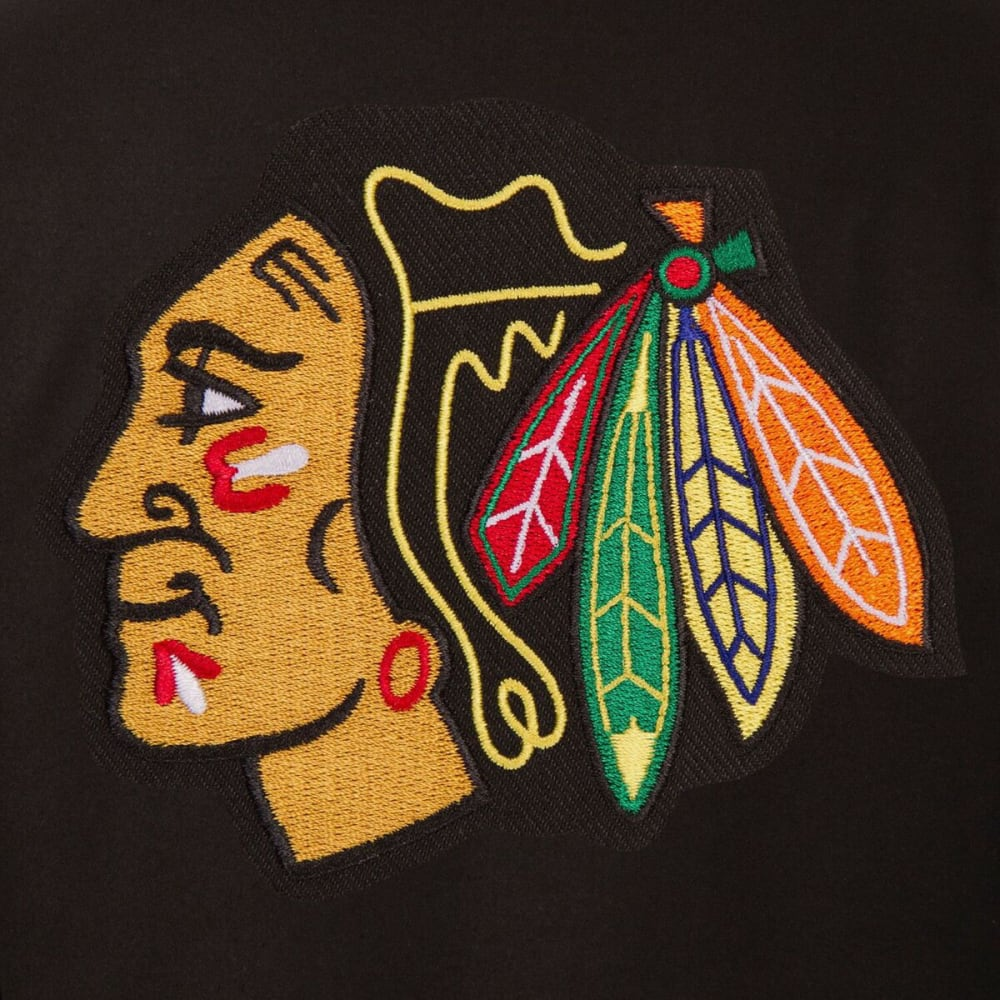 CHICAGO BLACKHAWKS Men's One Logo Reversible Wool Jacket - BLACK-RED