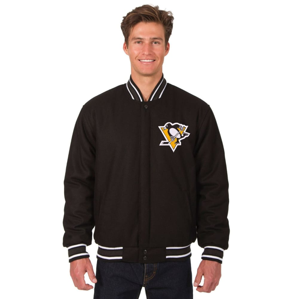 PITTSBURGH PENGUINS Men's One Logo Reversible Wool Jacket - BLACK