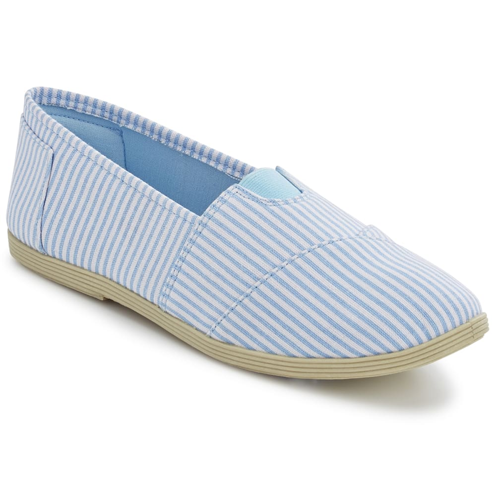 OLIVIA MILLER Women's Stripe Canvas Slip-On Casual Shoes - BLUE