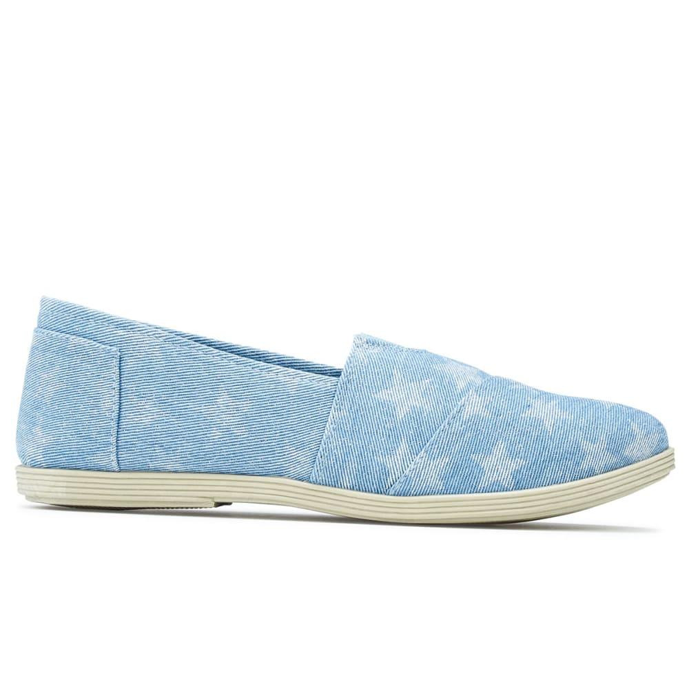 OLIVIA MILLER Women's Denim Star Print Slip-On Casual Shoes - DENIM
