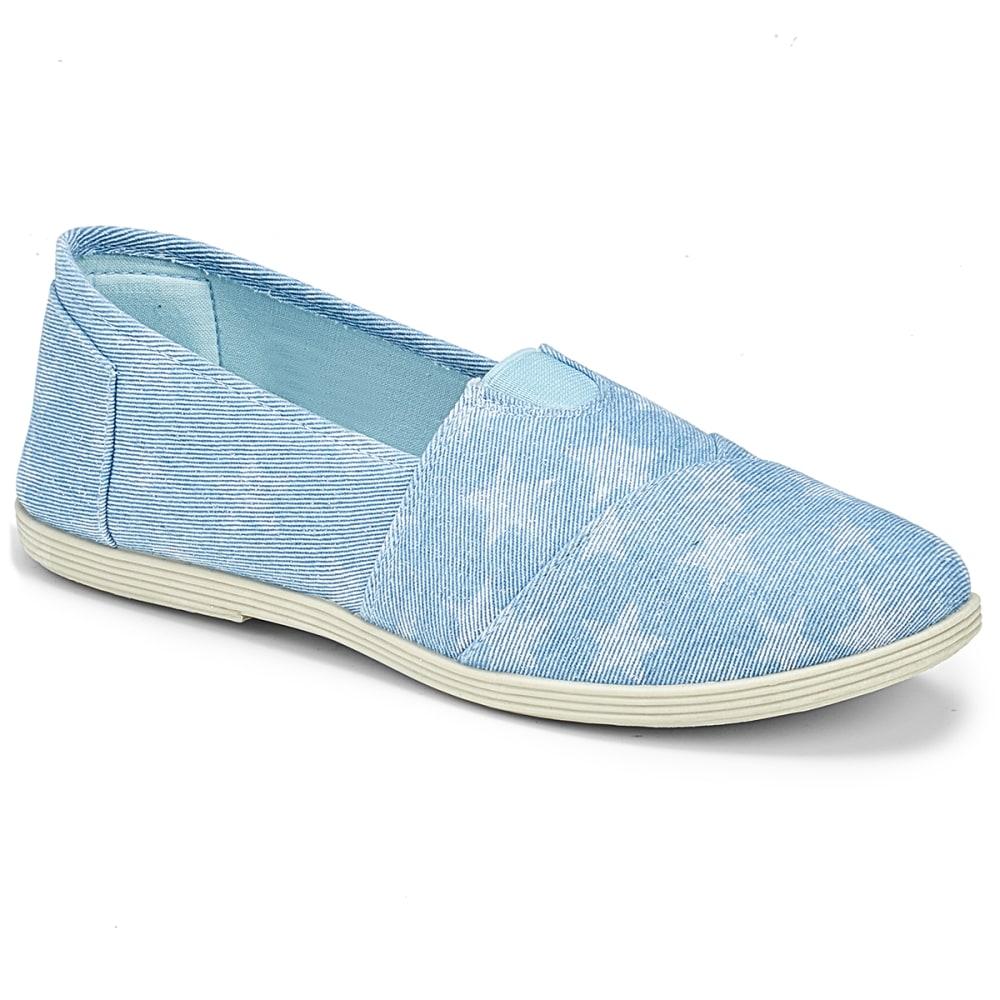 Olivia Miller Women's Denim Star Print Slip-On Casual Shoes - Blue, 6
