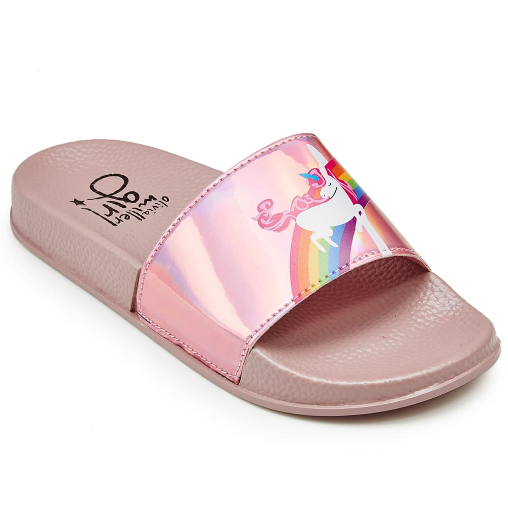 OLIVIA MILLER Girls' Unicorn Rainbow Slide Sandals - PINK