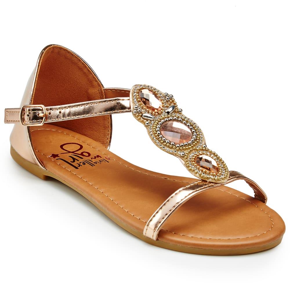OLIVIA MILLER Girls' Rhinestone Flat Sandals - ROSE GOLD