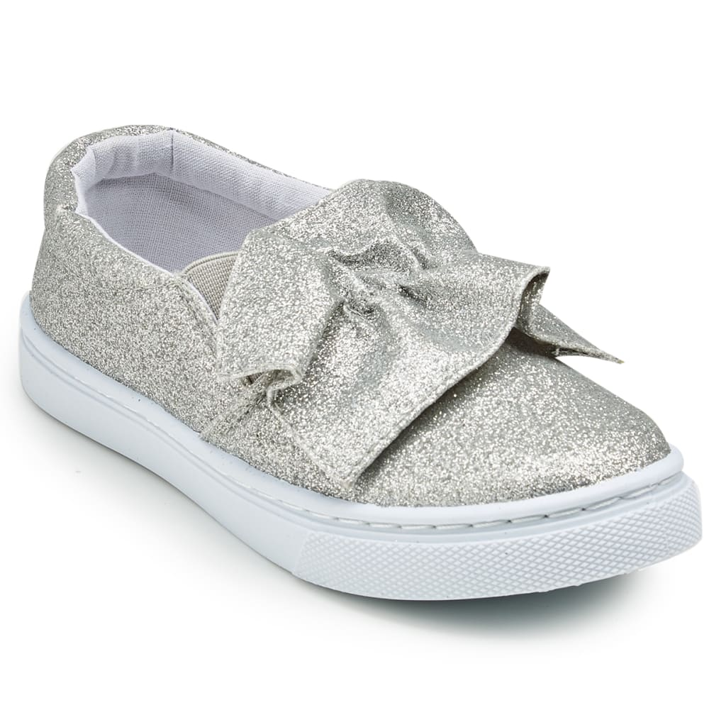 OLIVIA MILLER Girls' Ruffle Glitter Casual Slip-On Shoes - SILVER