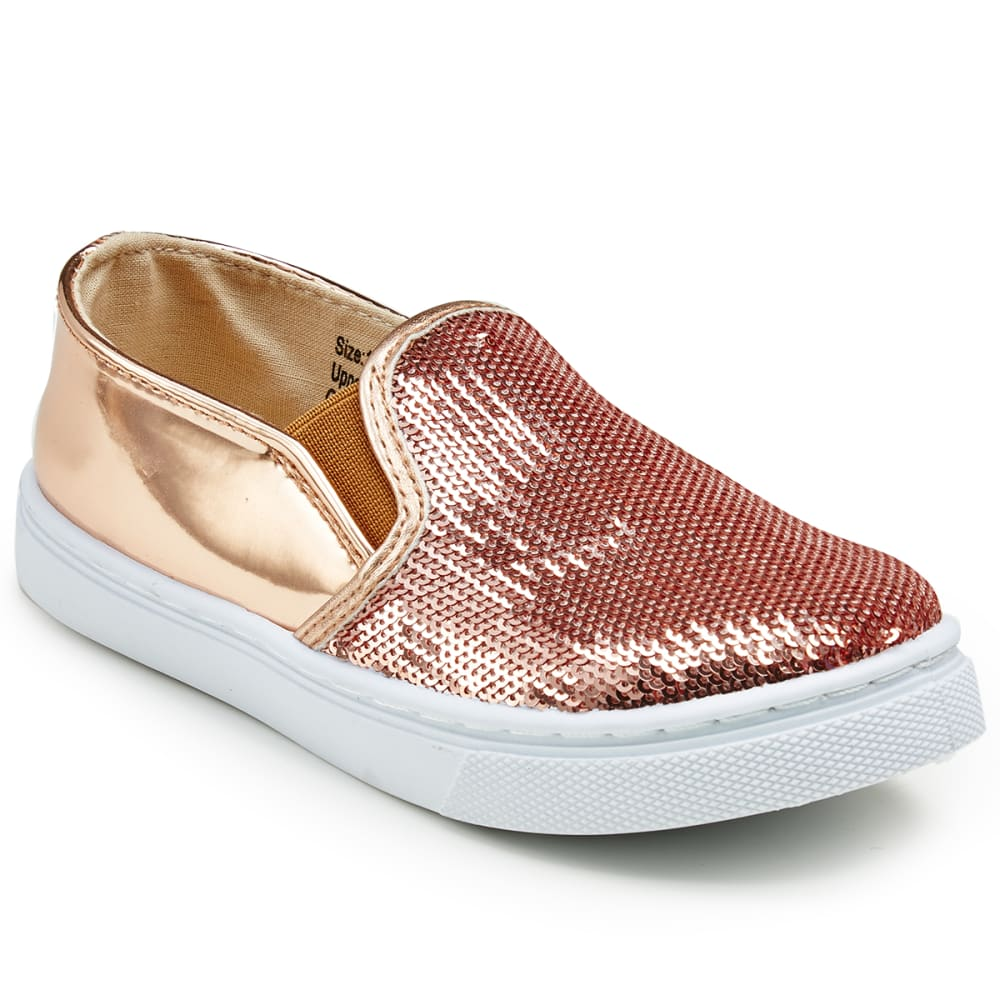 OLIVIA MILLER Girls' Sequined Casual Slip-On Shoes - ROSE GOLD