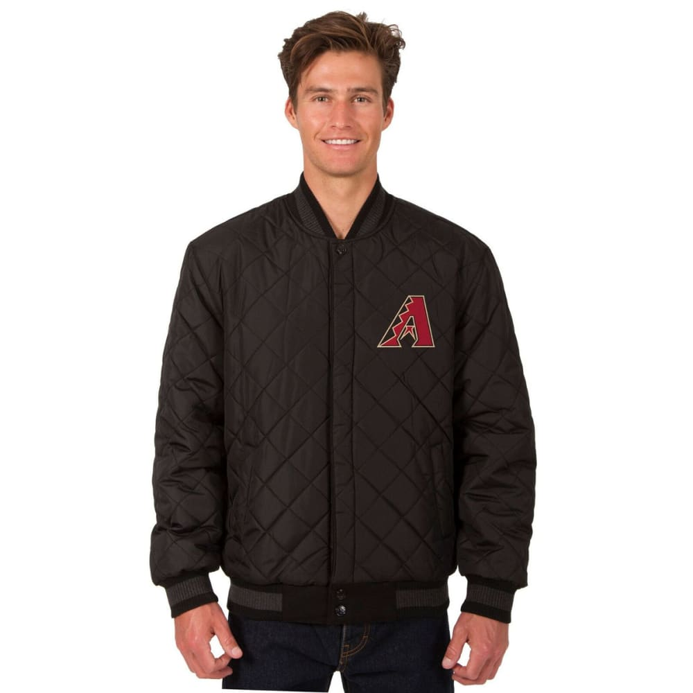 ARIZONA DIAMONDBACKS Men's Wool and Leather Reversible One Logo Jacket - BLACK