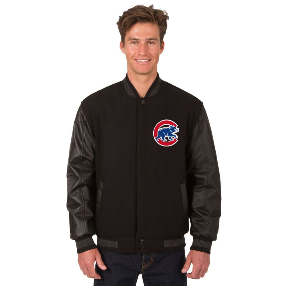 CHICAGO CUBS Men's Wool and Leather Reversible One Logo Jacket - BLACK