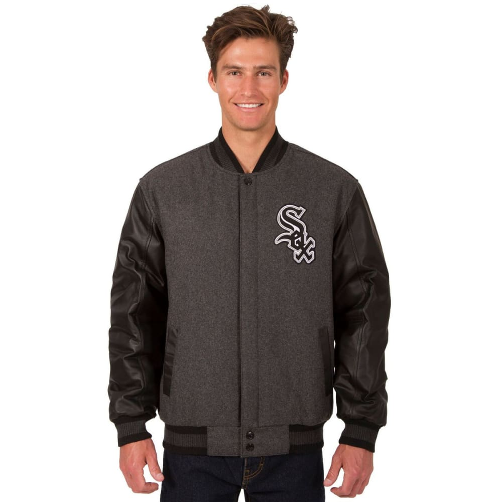CHICAGO WHITE SOX Men's Wool and Leather Reversible One Logo Jacket - Charcoal Black