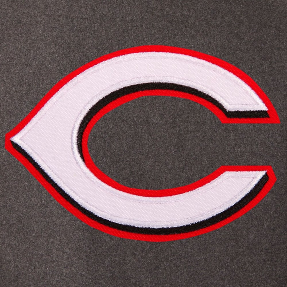 CINCINNATI REDS Men's Wool and Leather Reversible One Logo Jacket - Charcoal Black