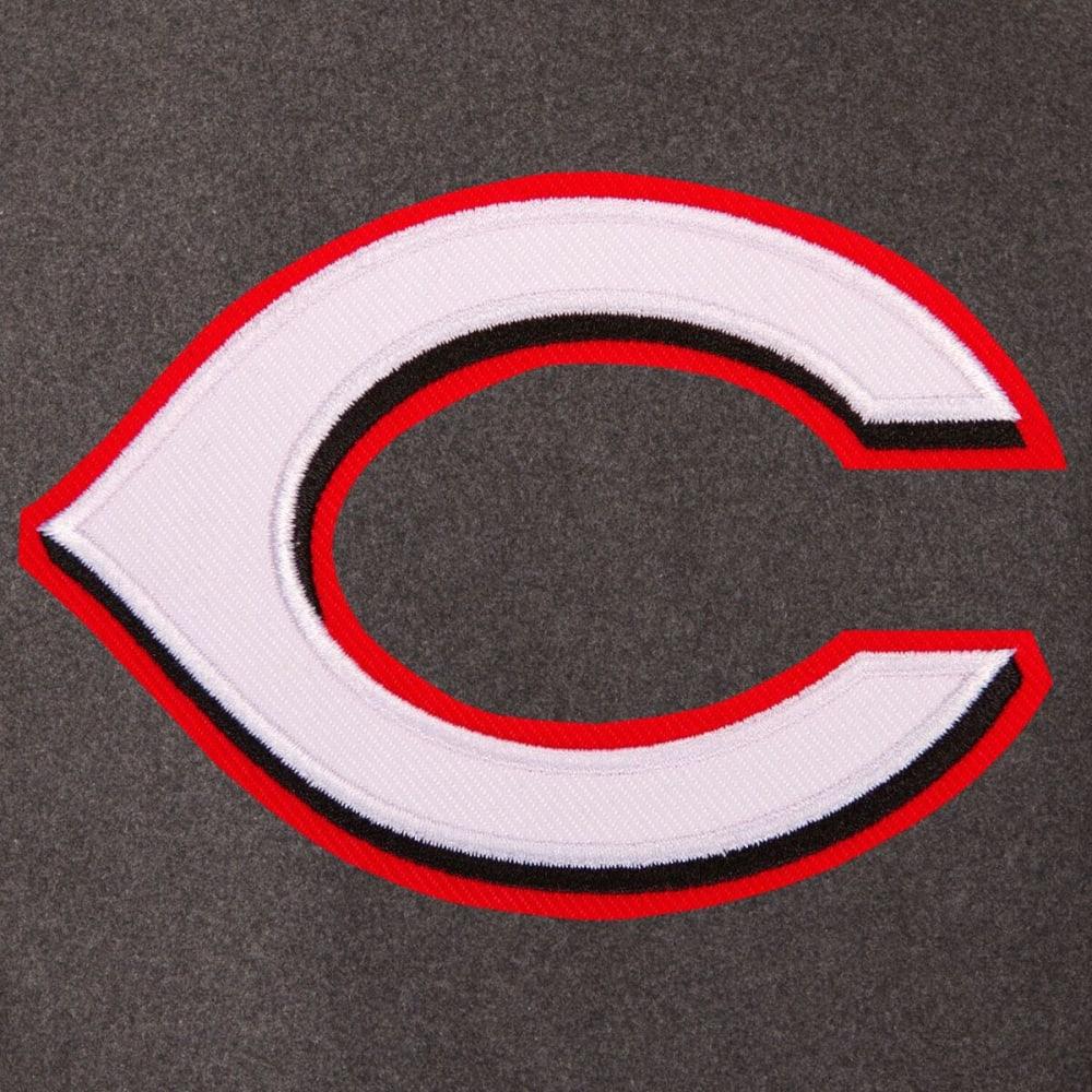CINCINNATI REDS Men's Wool and Leather Reversible One Logo Jacket - Charcoal Black