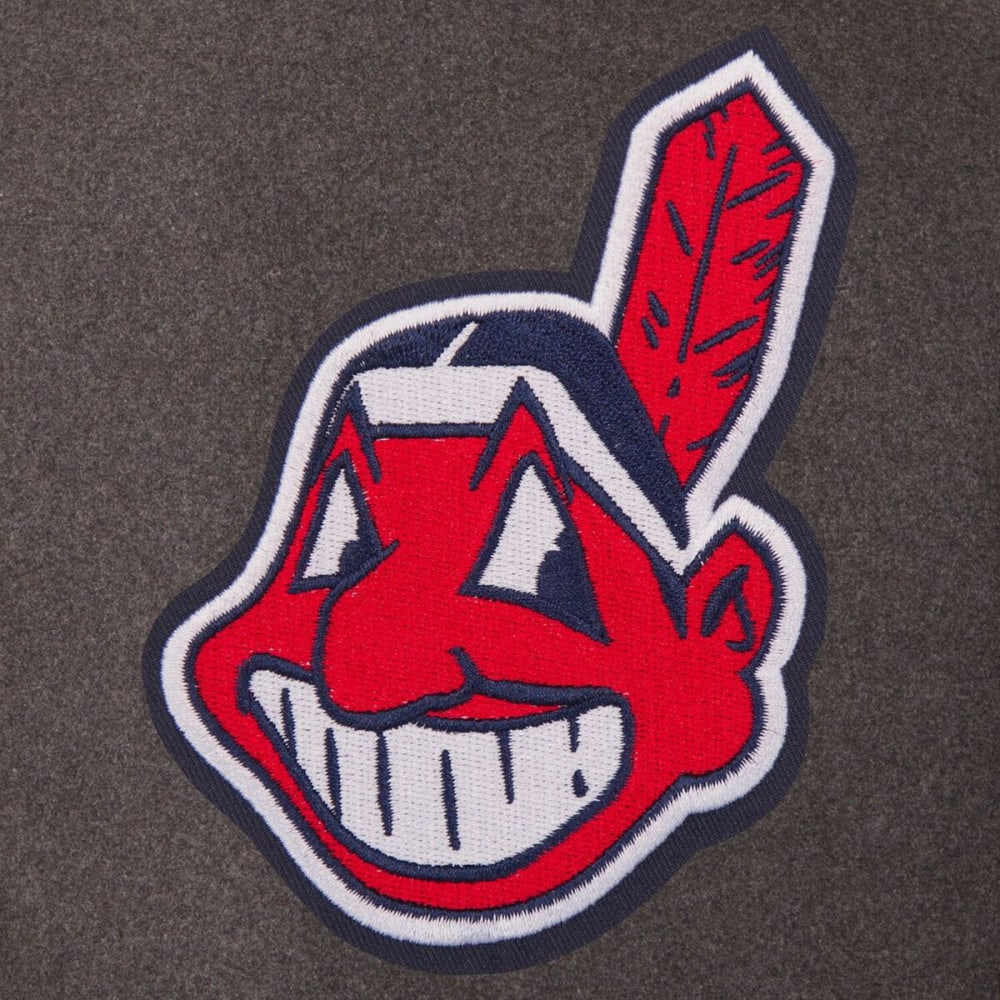 CLEVELAND INDIANS Men's Wool and Leather Reversible One Logo Jacket - CHARCOL NAVY