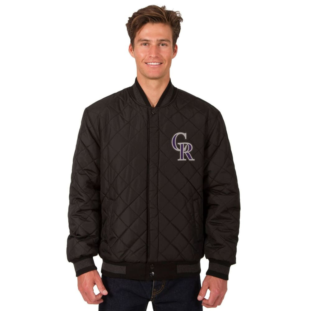 COLORADO ROCKIES Men's Wool and Leather Reversible One Logo Jacket - BLACK
