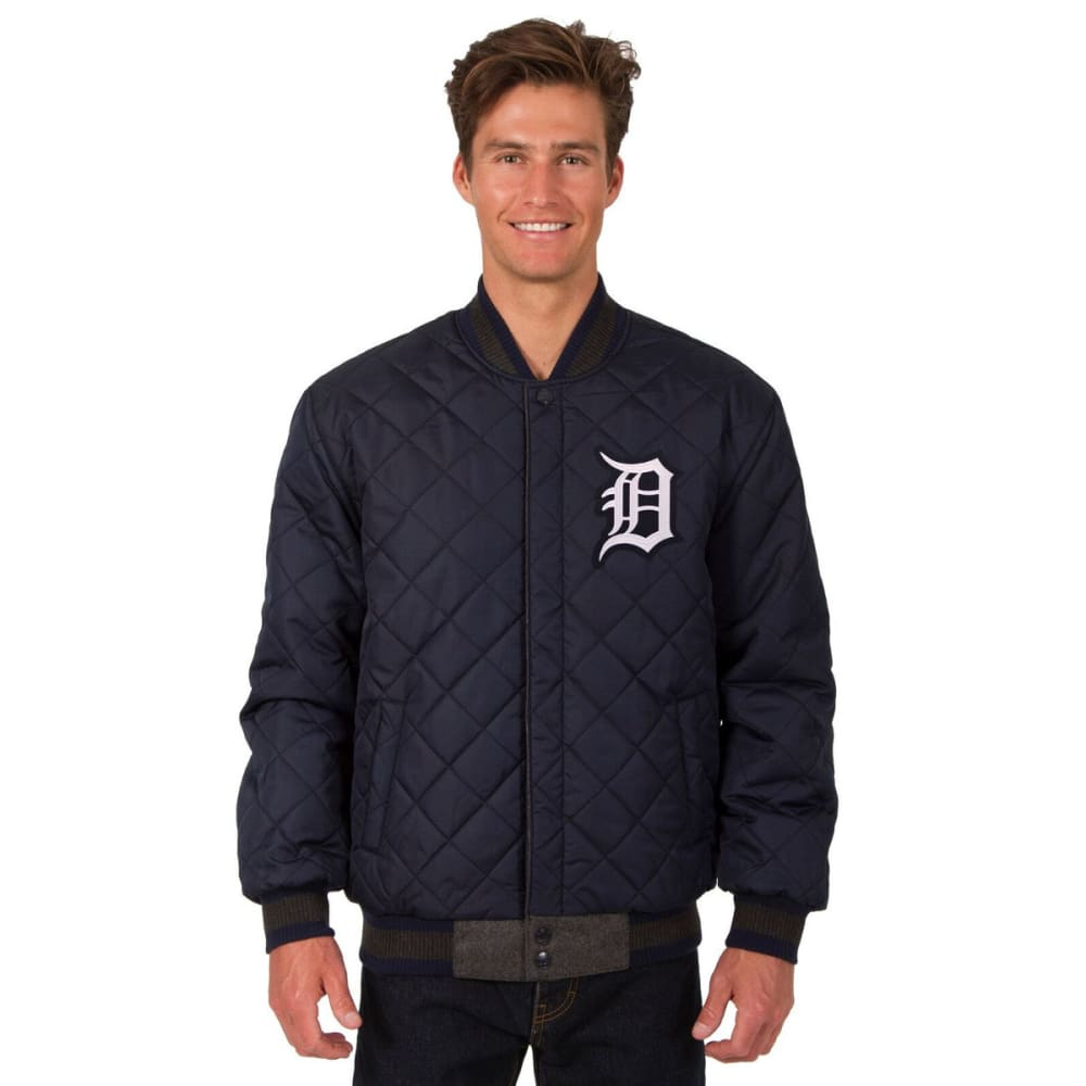 DETROIT TIGERS Men's Wool and Leather Reversible One Logo Jacket - CHARCOAL NAVY