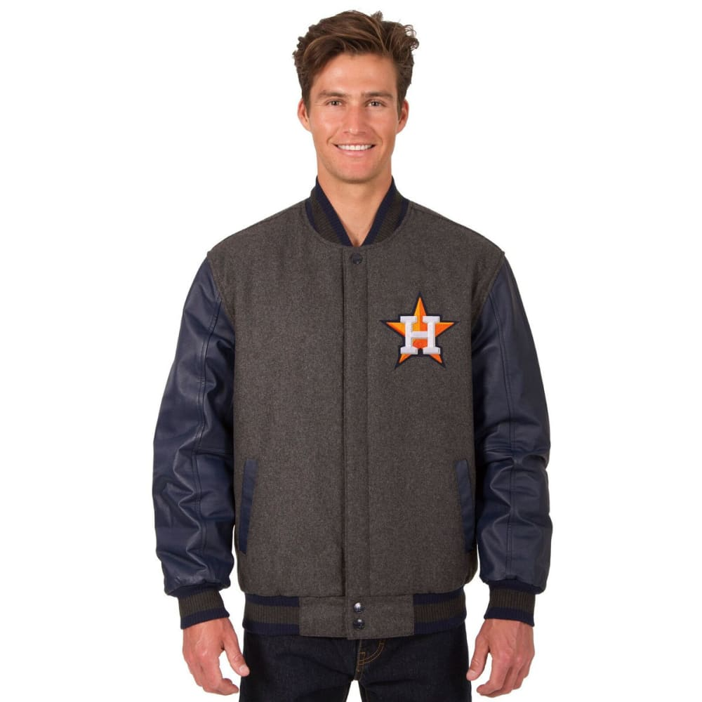 HOUSTON ASTROS Men's Wool and Leather Reversible One Logo Jacket - CHARCOAL-NAVY