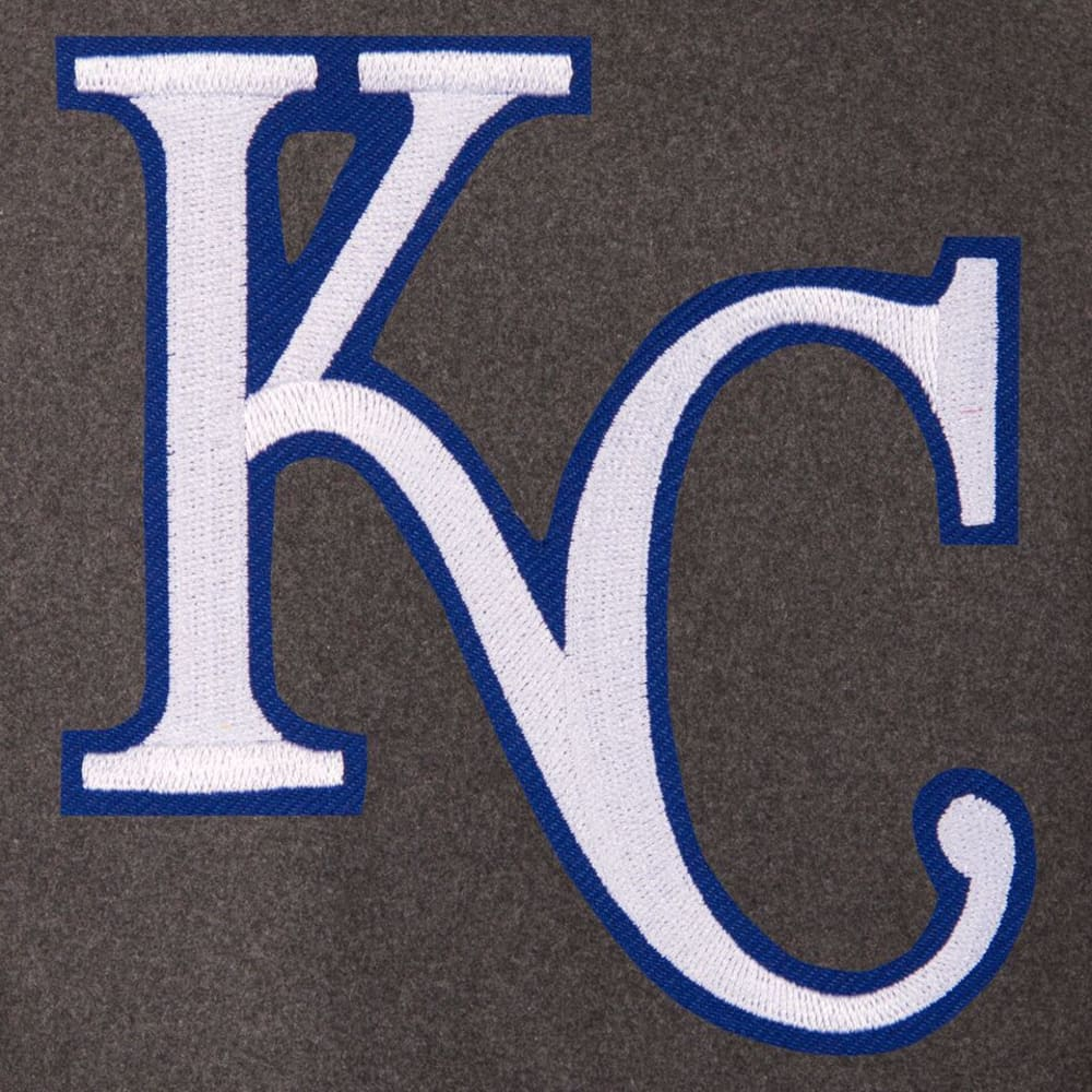 KANSAS CITY ROYALS Men's Wool and Leather Reversible One Logo Jacket - Charcoal Black