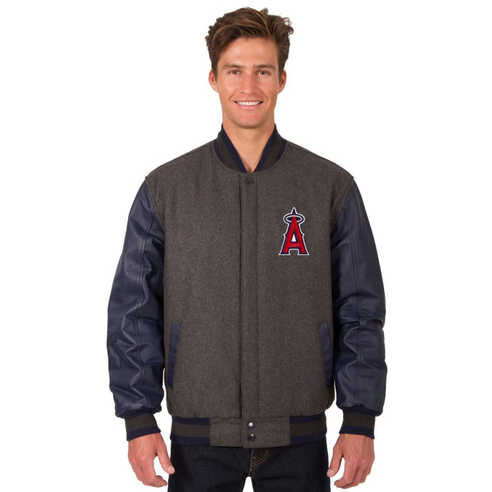 LOS ANGELES ANGELS Men's Wool and Leather Reversible One Logo Jacket - CHARCOAL-NAVY