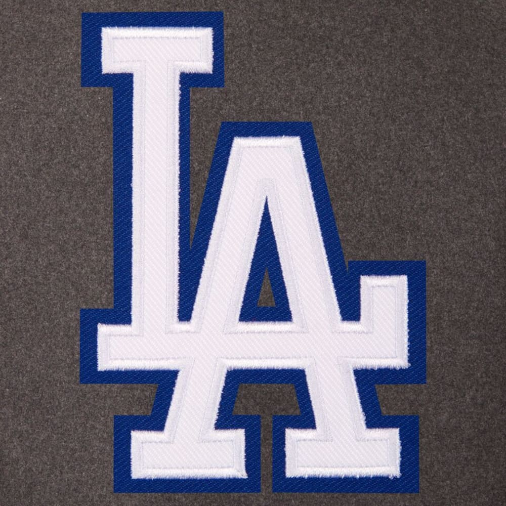 LOS ANGELES DODGERS Men's Wool and Leather Reversible One Logo Jacket - CHARCOAL-BLACK